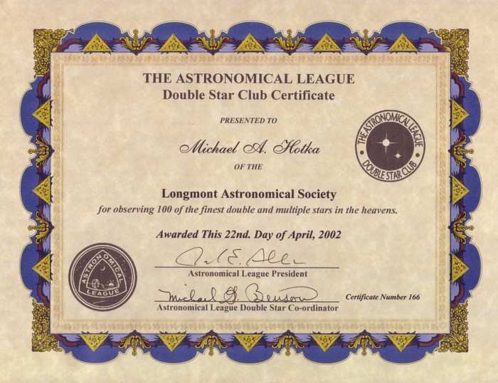 Picture of Double Star Certificate