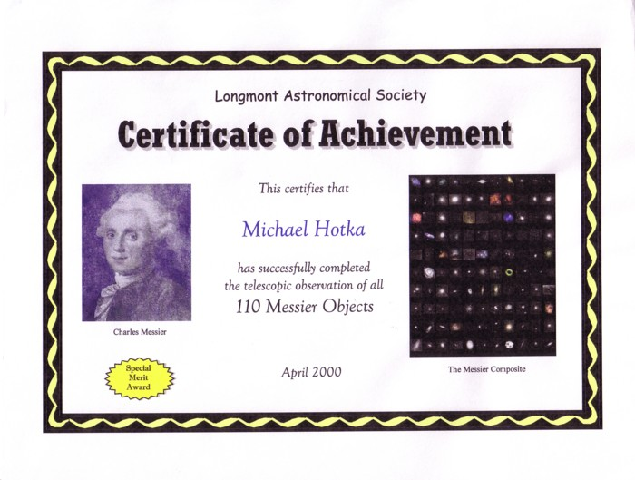 Picture of Messier Certificate