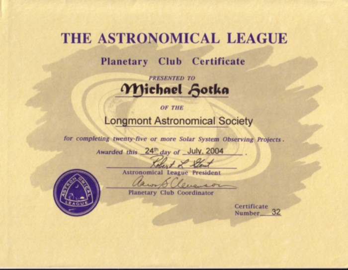 Picture of Planetary Observer Certificate